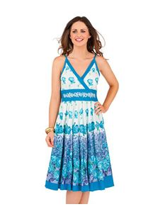 D402 Floral Summer Beach Sun Dress Blue