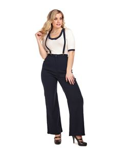Collectif 40s Style Glinda Navy Wide Swing Trousers