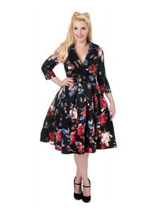 Dolly & Dotty 50's Black Floral Tiffany ¾ Sleeve Dress