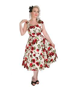 H&R London 50s Style Ditsy Rose Floral Dress Off-White