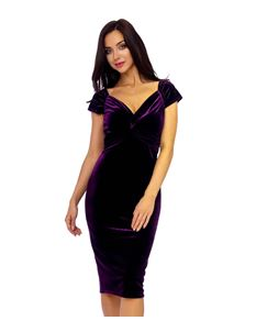 Purple Velvet Crossover Pencil Dress