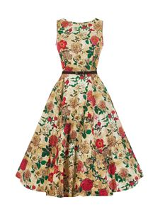 Lady Vintage 50's Antique Rose Floral Dress