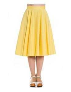 Hell Bunny Paula 50s Rockabilly Circular Skirt Yellow