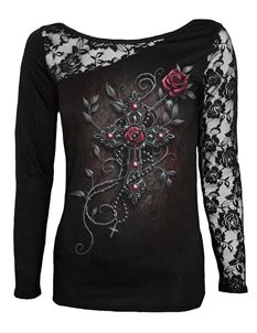 Spiral Direct Angel Beads Cross Lace Alternative LS Top