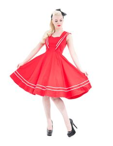 Hearts And Roses 40s 50s Red Sailor Nautical Dress