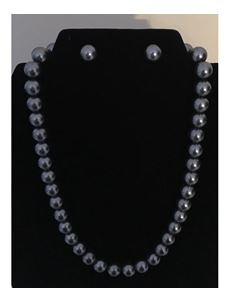 Collectif Dainty Pearl 50s Style Necklace Gunmetal