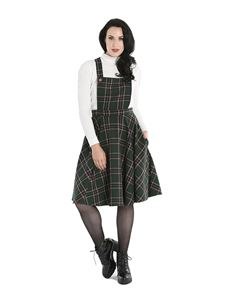 Hell Bunny Miles Tartan Check Green Pinafore Dress