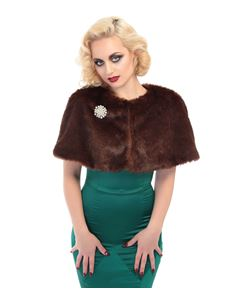 Collectif Vintage Style Lillian Fur Brown Cape