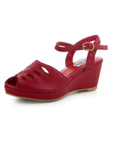 Collectif 1940s 50s Style Lily Red Wedge Sandals