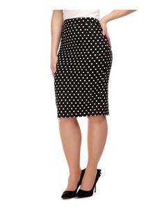 Collectif Polly Black And White Polka Dot Pencil Skirt