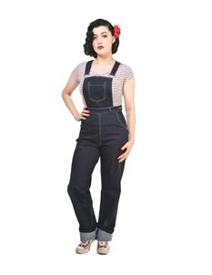 Collectif Pippa 50s Vintage Style Navy Blue Denim Dungarees