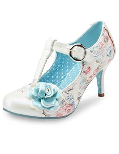 Joe Browns Arushi T-bar Occasion Floral Ivory Shoe