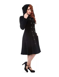 Collectif Heather Black Velvet 50s Hooded Coat
