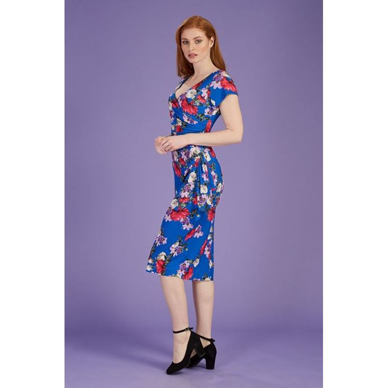 Lady Vintage Elsie Spacious Bouquet Floral Wiggle Dress