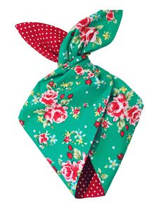 Be Bop a Hairbands Jade Floral With Red Polka Hairband