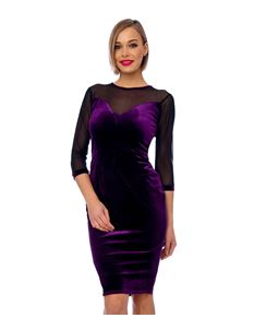 Bettie Vintage Purple Mesh Detail Velvet Bodycon Dress
