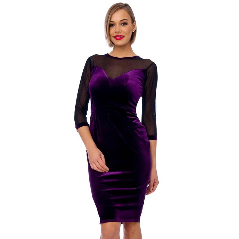 0fb4664f4e6d Bettie Vintage Purple Mesh Detail Velvet Bodycon Dress