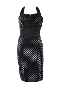 H&R London 50's Pencil Wiggle Dress Polka Dot Black
