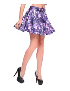 Poisoned Purple & White Digital Print Mini Skirt