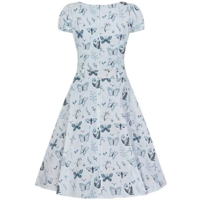 Collectif 40s 50s Blue Paisley Butterfly Swing Dress