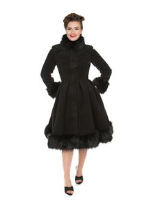 Hearts & Roses Black Vintage Elsie Swing Coat