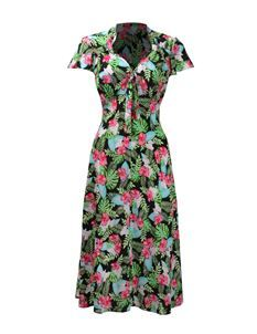 Pretty Retro 40s Tea Dress In Ebony Hawaii
