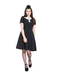 Hell Bunny Bow Skater Short Black Dress