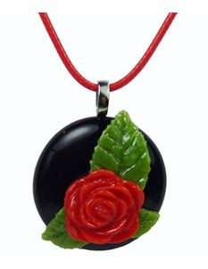 Rowanberry Designs Red & Black Rose Glass Pendant