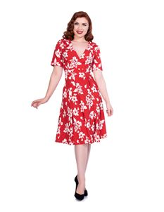 Sheen Molly 1940s Style Red & White Floral Tea Dress