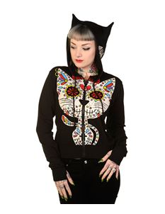 Banned Sugar Kitty Cat Ears Alternative Hoodie Black