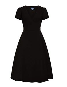 Collectif 40s Style Wilhelmina Black Crepe Wrap Dress