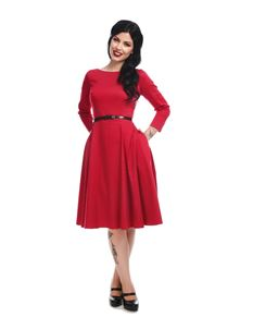 Collectif Mainline Delphine Plain Swing Red Dress