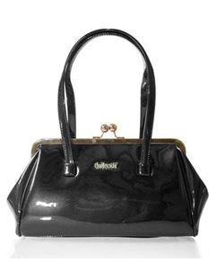 Collectif 50s Style Retro Black Patent Kiss Lock Bag