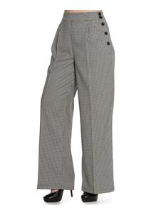 Hell Bunny 40s Jackson Dogtooth Houndstooth Wide Leg Trousers