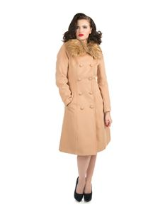 H&R London Chrissette Vintage Style Faux Fur Beige Coat