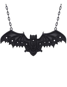 Restyle Bat Lace Pendant Gothic Black Necklace