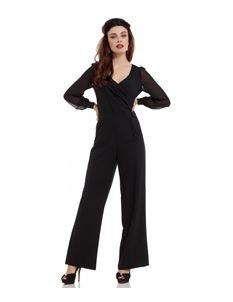Voodoo Vixen Rosemary Black Flared Jumpsuit