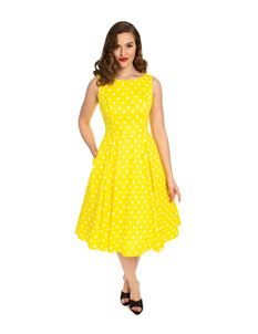 b2321856da5e Hearts   Roses Cindy Polka Dot 50s Yellow Brown Dress