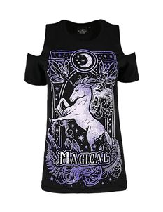 Restyle Magical Unicorn Cold Shoulder T-Shirt Top