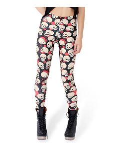 Poisoned Off-White Skull & Red Blood Digital Print Leggings
