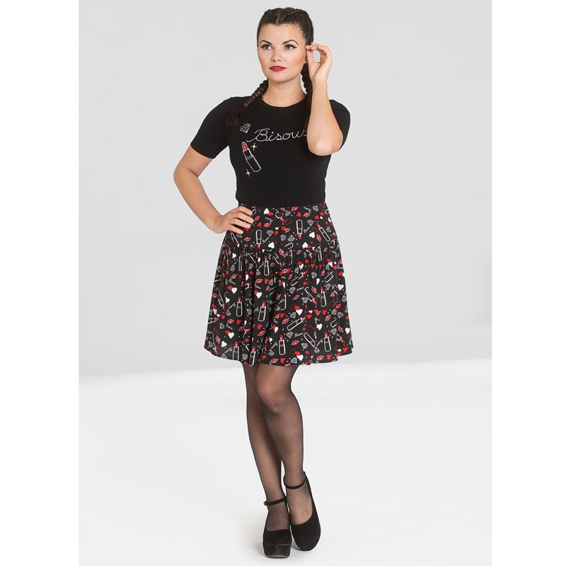Hell Bunny Bisous Lipstick Lips Short Mini Skirt