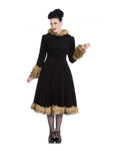 Hell Bunny Black Isadora Vintage Style Coat With Hood