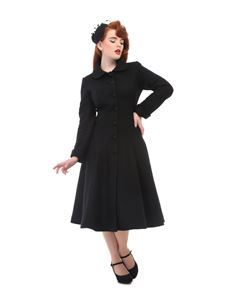 Collectif Lillian 40s 50s Princess Style Black Textured Coat