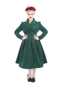 Hearts & Roses Teal Green Vintage Swing Coat