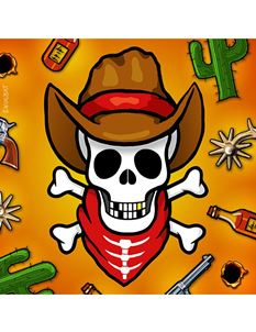 Snugbat Cowboy Skull Greetings Card