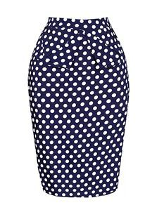 Gas Axe Inc 50's Style Pencil Skirt In Blue And White
