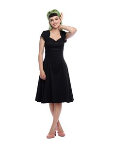 Collectif Regina 50s Black Sateen Evening Doll Dress