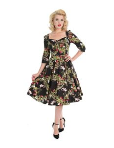 H&R London Into the Woods Forest Birds 50s Style Dress