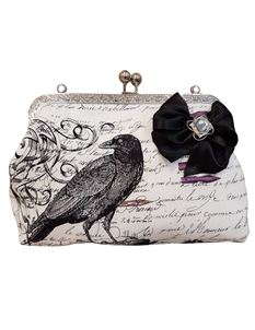 Hand Made Crow & Calligraphy Gothic Kiss Lock Bag
