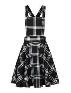 Hell Bunny Piper Tartan Check Mini Pinafore Dress